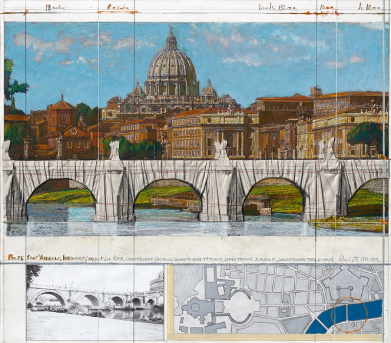 Christo - Christo - Ponte Sant Angelo, Wrapped, Project for Rome 1969 –; 2011