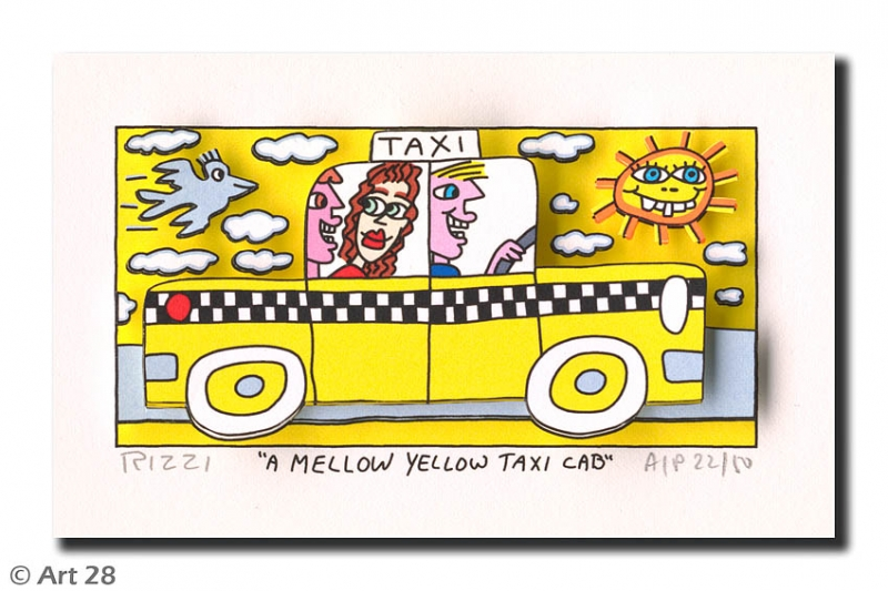 James Rizzi - RIZZI10198 a mellow yellow taxi cab