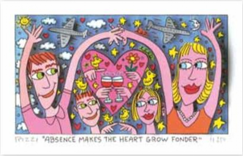 "James Rizzi RIZZI10276 ""ABSENCE MAKES THE HEART GROW FONDER"" 9 x 16 cm"