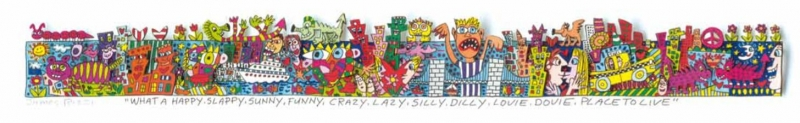 "James Rizzi RIZZI10268 ""WHAT A HAPPY, SLAPPY, SUNNY, FUNNY, CRAZY, LAZY, SILLY, DILLY, LOVIE, DOVIE, PLACE TO LIVE"" 5,1 x 45,1 cm"