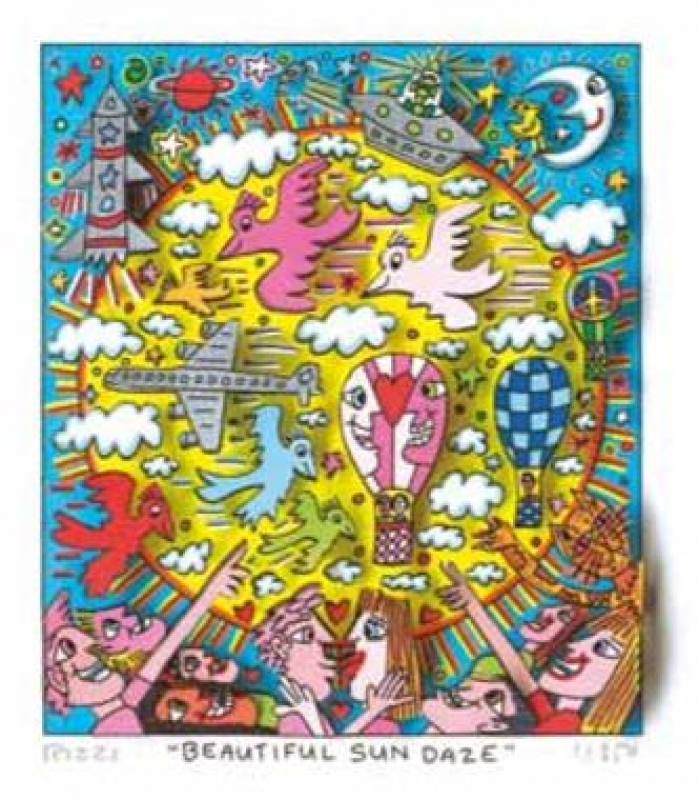 "James Rizzi RIZZI10274 ""BEAUTIFUL SUN DAZE"" 14 x 12 cm"