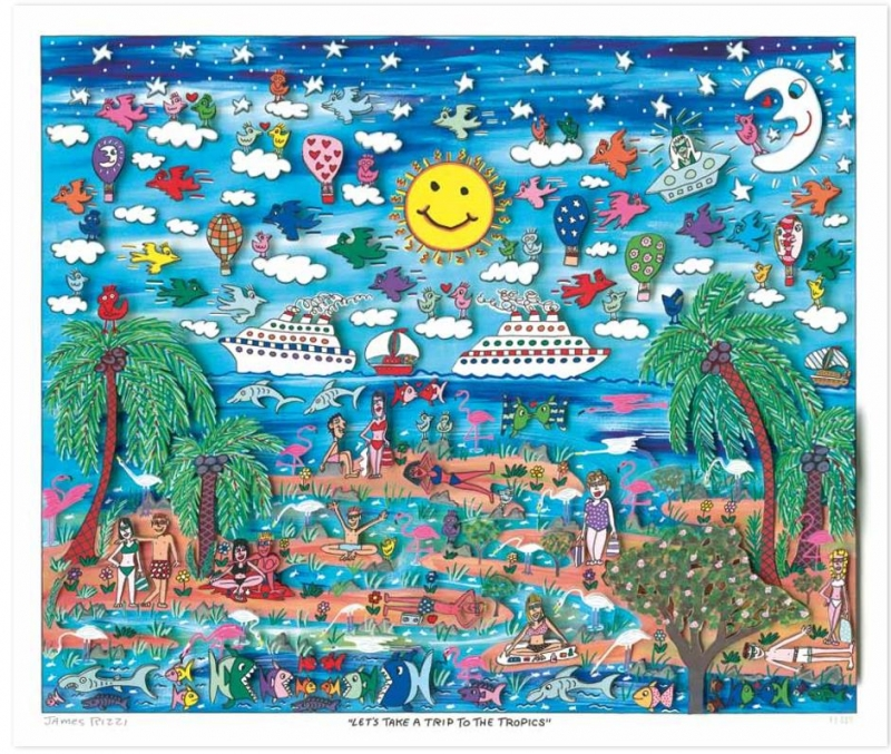 "James Rizzi RIZZI10213 ""LET′S TAKE A TRIP TO THE TROPICS"" 41 x 49 cm"