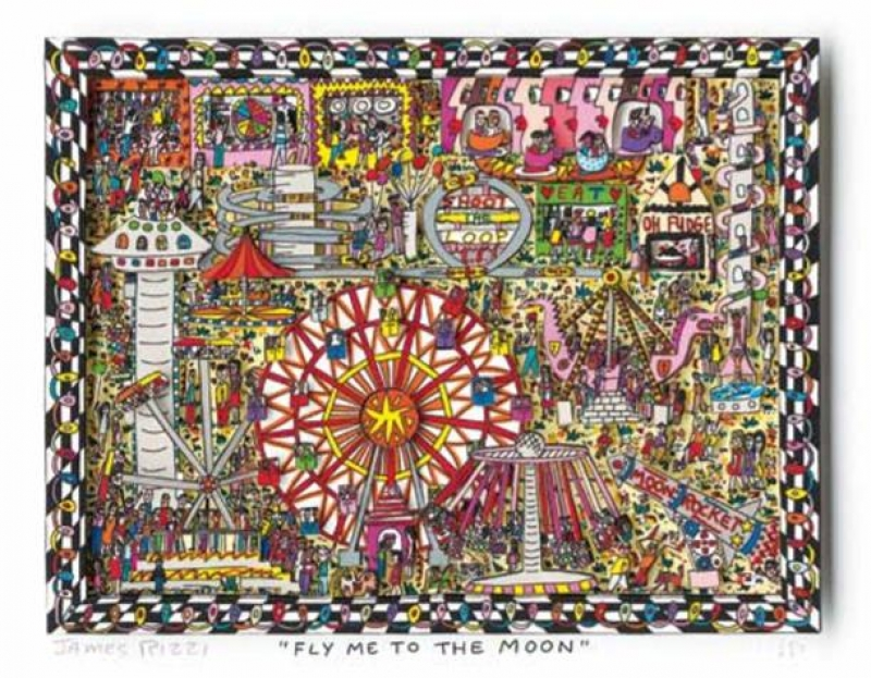 "James Rizzi RIZZI10217 ""FLY ME TO THE MOON"" 19 x 25 cm"